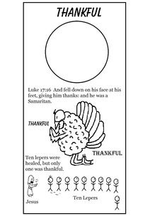 Thanksgiving Turkey One Thankful Man Ten Lepers Coloring