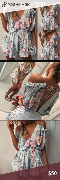 COMING SOON - NEW pastel floral romper This romper is too sweet. Lightweight and chic, perfect for this season. Pair with booties, sandals or heels for an easy day to night look on the warmer weather.   Cotton/Polyester Pants Jumpsuits & Rompers