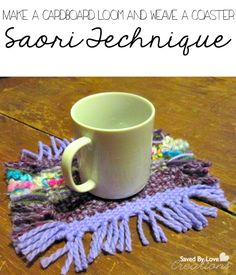 how to make a cardboard loom and weave a coaster @savedbyloves #weaving #kidscrafts #crochet #knitting