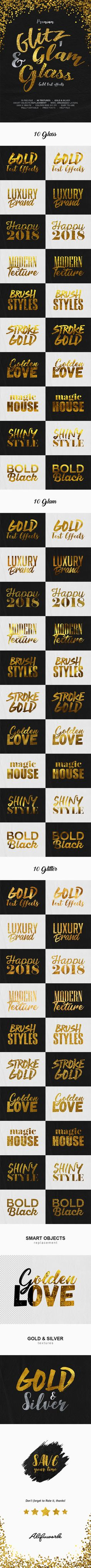 Glitz, Glam & Glass Gold Text EffectsThis graphic resource gives you a quick & easy possibility to apply an high quality gold styl Cool Photoshop, Photoshop Actions, Magazine Titles, Touch Of Gold, Text Effects, Glitz And Glam, Gold Style, Resume Styles, Adobe Photography