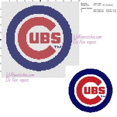 Chicago Cubs free logo Major League Baseball MLB cross stitch pattern 100x98 2 colors