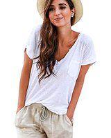 CANIS Women's V Neck White Short Sleeve Loose T-shirt