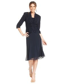$104  T14P 10P 6P Alex evenings Petite Jacquard Sparkle Dress And Jacket in Blue (Navy)