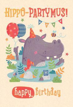 Hippo PARTY-Mus - Happy Birthday Card  #greetingcards #printable #diy #birthday