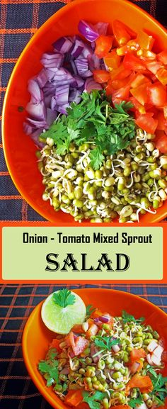 Onion Tomato Mixed Bean Sprout Salad Recipe is a quick and healthiest recipe of sprouts mixed with chopped onions and tomatoes. Bean Sprout Salad, Sprouts Salad, Slaw Recipes, Veggie Recipes, Healthy Recipes, Fruit Dressing, Vegetarian Salad, Exotic Food