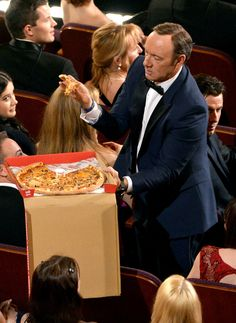 Kevin Spacey did GREAT as a pizza passer. He also did a really good job topping out that amazing selfie.
