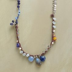 """TWILIGHT, STARLIGHT NECKLACE--Naomi Herndon mixes lapis, chalcedony, aquamarine and labradorite with tiny sterling silver disks and trade beads on lengths of sterling silver chain and knotted linen. USA. Exclusive. 28-1/2""""L."""