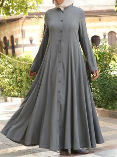 Shirt Dress with Godets - Abayas - Women Abaya Fashion, 80s Fashion, Fashion Dresses, Fashion Tips, Moslem Fashion, Hijab Style Dress, Mode Simple, Muslim Women Fashion, Abaya Designs