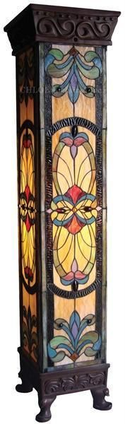 "Stained Glass Tiffany Style Pedestal Floor Lamp 42""Tall"
