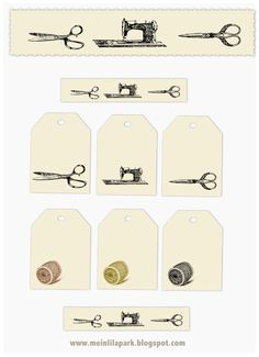 free vintage sewing tags and sewing girl digital stamp – Vintage Etiketten Nähen – freebie | MeinLilaPark – digital freebies