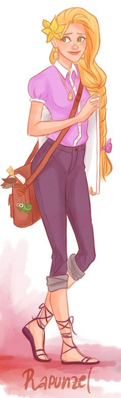 Disney Princesses Like You've Never Seen Them - Hipster Rapunzel. Illustration by Victoria Ridzel. Hipster Rapunzel, Hipster Princess, Hipster Disney, Disney Princess Art, Disney Rapunzel, Princess Rapunzel, Princesa Disney, Modern Disney, Princess Fashion