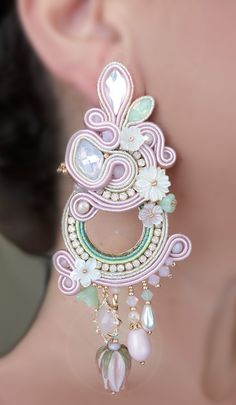 Soutache Earrings by Serena Di Mercione (Swarovski, mother-pearl flowers, lampwork flowers)