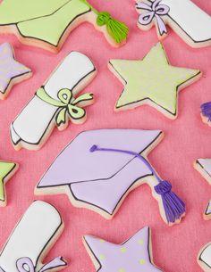 Graduation decorated sugar cookies- cap, star and diploma