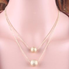 Double alloy necklace lady fashion jewelry necklace (Gold)