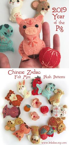 Stitch up these adorable Chinese Zodiac mini felt animals with the PDF pattern from little dear. Crafts To Do, Felt Crafts, Fabric Crafts, Nifty Crafts, Sewing Toys, Sewing Crafts, Sewing Projects, Felt Animal Patterns, Felt Christmas Ornaments