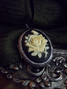 Natural  Solid Perfume Locket  Rose Cameo by MidnightGypsyAlchemy, $17.95