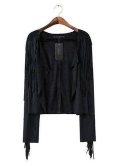 97597636cc4ed7 Leather Fringe, Suede Leather, Spring Jackets, Rain Jackets, Dongguan, Nike  Jacket, Fashion Women, Slim, Black Jackets