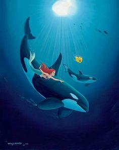 Ariel with orcas 〖 Disney Ariel Flounder The Little Mermaid orca killer whale Wyland art 〗 Disney Pixar, Film Disney, Disney Fan Art, Disney And Dreamworks, Disney Animation, Disney Little Mermaids, Mermaids And Mermen, Ariel The Little Mermaid, Ariel Mermaid