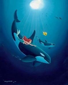 The Little Mermaid with Orcas