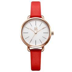 Red Leather Simple Dial Ladies Quartz Clock 357481e3bfc7