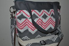 Slouch day Bag in Bright Pink and Grey Zig Zag Chevron Stripes / cross body messenger  / womens purse / or diaper bag  / by Darby Mack via Etsy