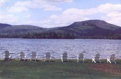 Long Lake, NY : Adirondack Chairs Along Long Lake, NY