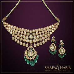 Green Emerald and Meena design crafted with Polki Diamonds.