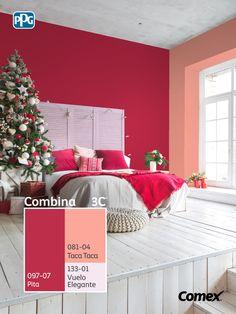 Logra el balance perfecto de color en tu proyecto seleccionando 3 tonos distintos, 60% color predominante, 30% color intermedio y 10% color de acento. Pon en práctica el Sistema #Combina3C® tú también y ambienta cada espacio de tu hogar 😍 🌲 #Combina colores y transforma tu espacio. Teal Wall Colors, Room Wall Colors, Teal Walls, Paint Colors For Living Room, Bedroom Colors, House Colors, Bedroom Red, Room Ideas Bedroom, Home Decor Bedroom