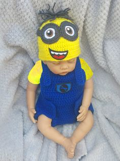 minion baby clothing set crochet baby costume crochet diaper cover set baby clothes set baby minion costume baby boy crochet baby outfit baby minion - Diaper Costume Halloween