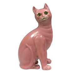 Pink Ceramic Cat w/Glass Eyes, Mid Century after Galle'