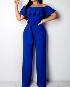 Material: Twilled Satin Style: Sweet Pattern Type: Solid Fit Type: Regular Elastic: Yes(Elastic) SIZE(IN) US Bust Waist Hip Pants Length S 4 M 6 L 8 XL 10 XXL 12 Tips:Due to the many variations in monitors, the color in Ruffle Jumpsuit, Casual Jumpsuit, Jumpsuit Outfit, Pants Outfit, Blue One Piece, Jumpsuits For Women, Pattern Fashion, Fashion Dresses, Maxi Dresses