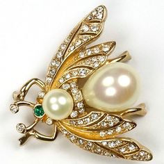 Ciner Gold and Pearl Bellied Bug Pin