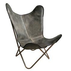 Malagoon Leren Vlinderstoel - Vintage Grey - afbeelding 1