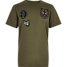 Boys khaki badge T-shirt $20.00