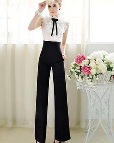 Casual High Waist Flare Wide Leg Long Pants Palazzo Trousers
