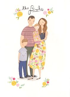 Project Nursery - Painted Family Portrait Custom Illustrated Family Portrait by Emma Block