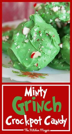 christmas cookies grinch Weihnachtspltzchen My new Minty Grinch Crockpot Candy is sure to be a family favourite for Christmas and it couldnt be easier to make! Simply put it in the crock pot and in an hour you have candy! Grinch Christmas Party, Christmas Snacks, Christmas Cooking, Christmas Candy, Grinch Party, Christmas Goodies, Christmas 2019, Grinch Cake, Grinch Cookies