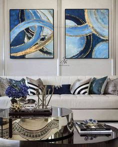 Set Of 2 Piece Paintings Blue And Gold Abstract Art Canvas Art Large Gold Leaf Painting Decorative Wall Art Knife Painting By Julia Kotenko Abstract Painting Gold Leaf Large Oil Painting Large Wall Art Abstract Art Canvas Art Contempor Acrylic Painting Canvas, Abstract Wall Art, Canvas Art, Knife Painting, Gold Leaf Art, Oil Painting Techniques, Painted Leaves, Art Mural, Bedroom Art