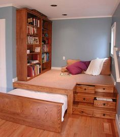 A cool bedroom design you can adopt for your home. It saves a lot of space.
