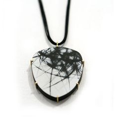 Painted & scratched silver pendant with 18k gold by Julia Turner.2009 Gallery Lulo.