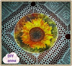 reverse decoupage on a glass plate sunflower DIY ideas decorations tutor...