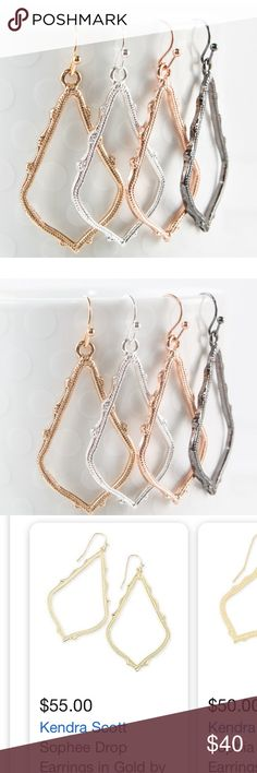 Sophee Kendra-Scott look-alike drop earrings New!! These gorgeous boutique earrings look just like the Sophee Kendra Scott collection. Colors to choose from are: gold, silver, rose gold, and gun metal. High-quality, fashionable, gorgeous, detailed drop earrings. Choose which color you want or pick all 4!!! 😍 Jewelry Earrings