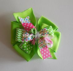 Solid Green Hair Bow Easter Hair Bows by HaleybugBowCreations
