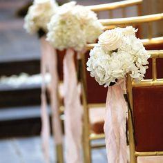 Ceremony chair/aisle idea. I've seen pics where they decorate the last row of the chairs too where these would go on all the corners of the chairs in the last row.