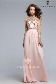 Faviana style 7759 is ethereal This chiffon dress features a beautifully detailed scoop neck with beaded bodice The long skirt will elongate your frame and you will feel like you are floating with every step Accessorize with a gorgeous silver bangle in order to compliment the beaded detail Wear  Faviana