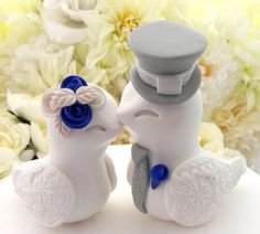 Love Birds Wedding Cake Topper White Cobalt Blue and by LavaGifts
