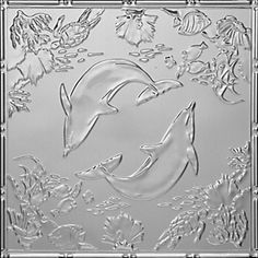 """Delightful Dolphins - Tin Ceiling Tile - 24""""""""x24"""""""" - #2486"""