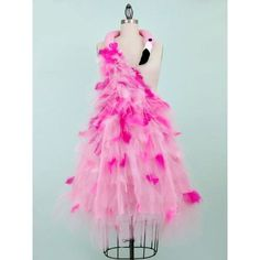 pink feather dress ❤ liked on Polyvore featuring dresses, pink feather dress, pink dress, feather dress and pink day dress