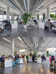 Open office plan coordinated with plants! Open Office Design, Open Space Office, Industrial Office Design, Loft Office, Corporate Office Design, Office Floor, Workplace Design, Office Workspace, Office Interior Design
