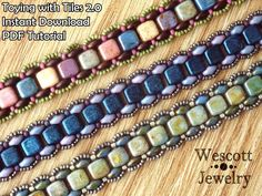 Beadweaving Pattern for Toying with Tiles Bracelet 2.0